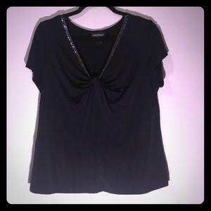 Lane Bryant Black Dress Shirt with silver beads